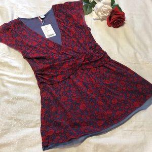 Anthropologie Ric Rac  Floral Ruffle Shirt L NWT